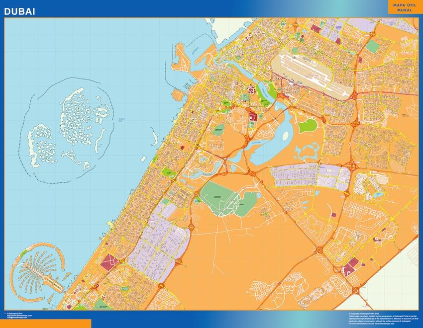 Mapa Dubai plastificado gigante