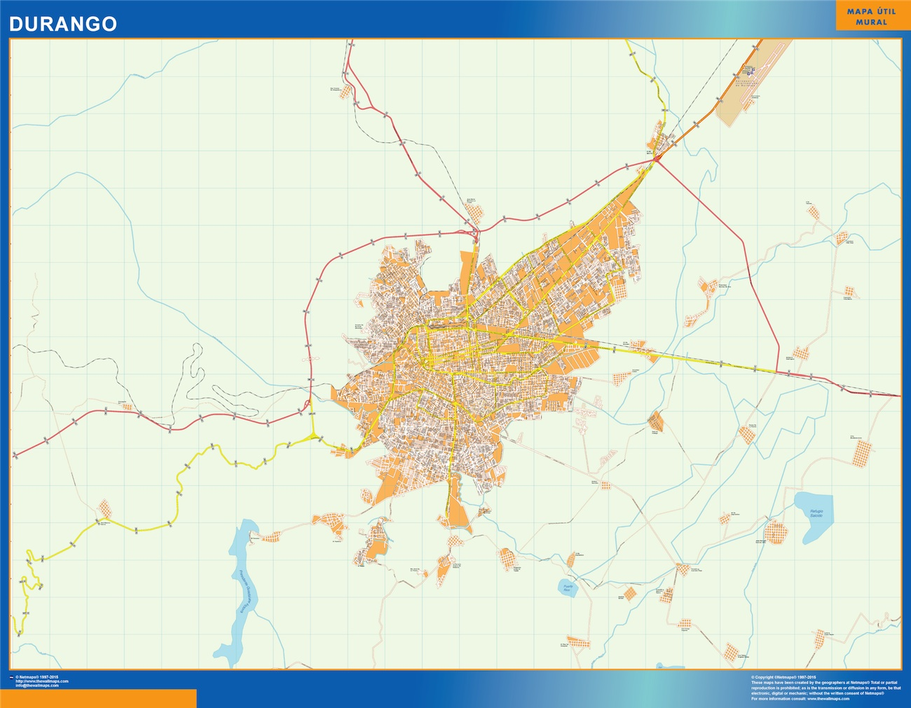 Mapa Durango en Mexico plastificado gigante