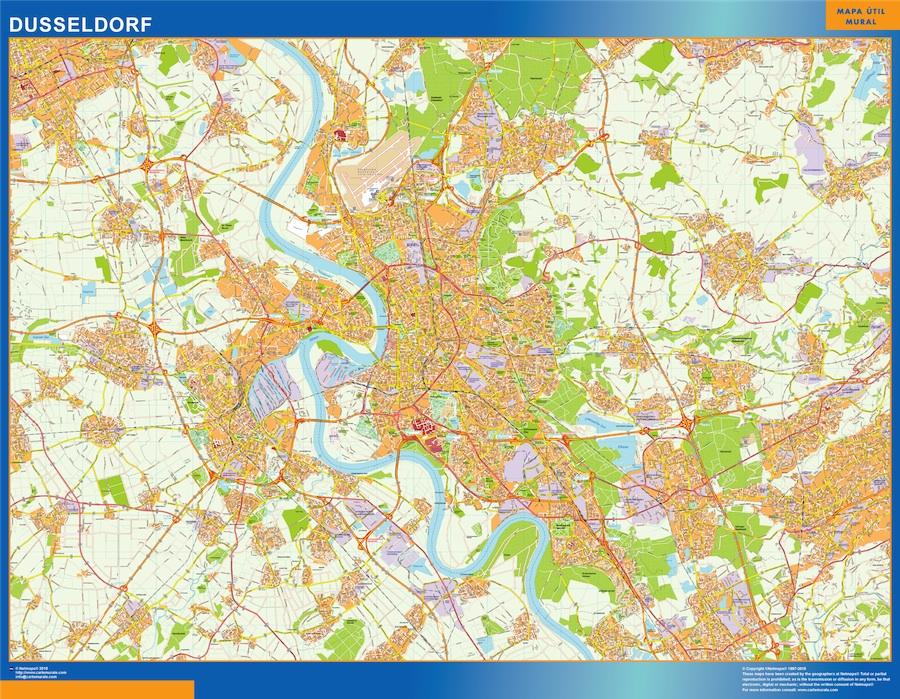 Mapa Dusseldorf en Alemania plastificado gigante