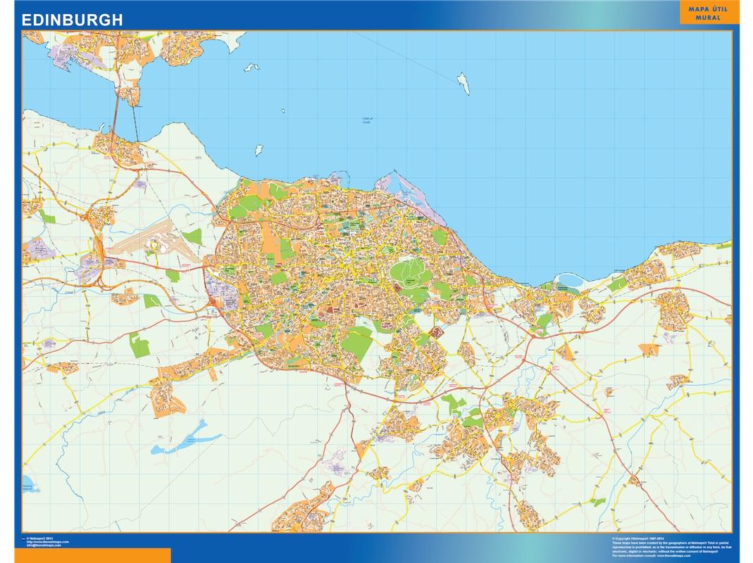 Mapa Edinburgh plastificado gigante