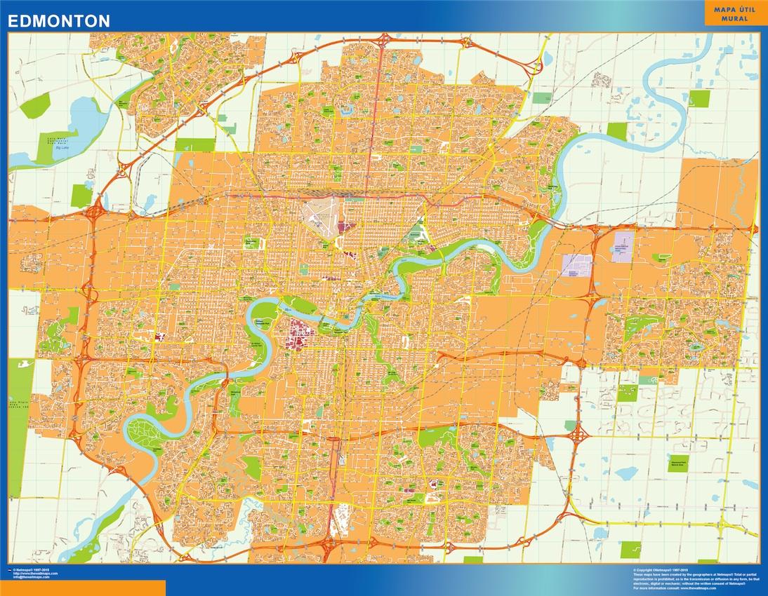 Mapa Edmonton en Canada plastificado gigante