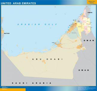 Mapa Emiratos Arabes Unidos plastificado gigante