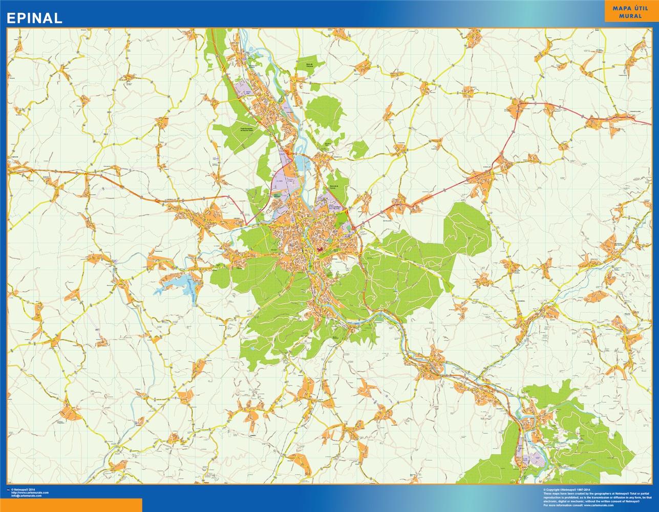 Mapa Epinal en Francia plastificado gigante