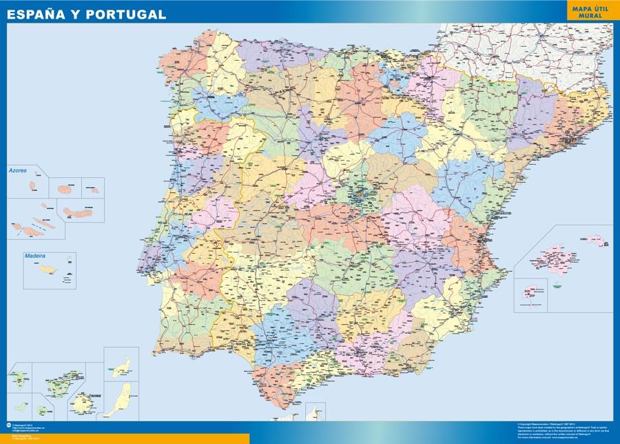 Mapa España básico plastificado gigante