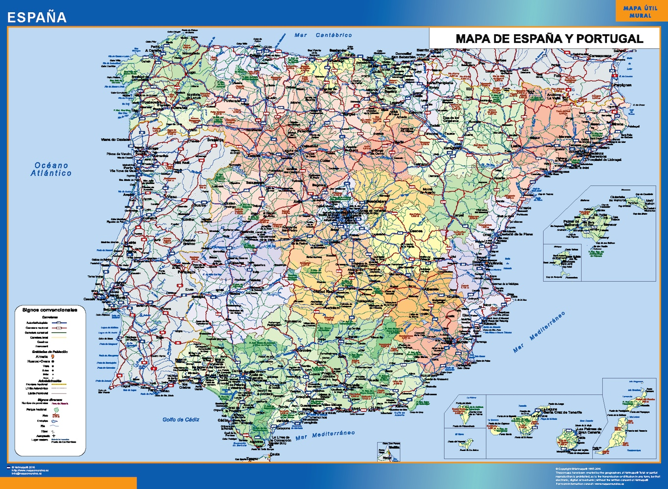 Mapa España simple plastificado gigante