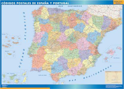 Mapa Espana Codigos Postales plastificado gigante