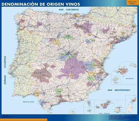 Mapa Espana Denominacion Origen Vino plastificado gigante