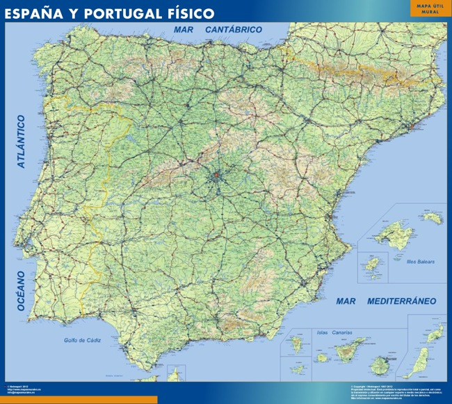 Mapa Espana Fisico plastificado gigante