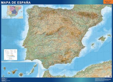 Mapa Espana Relieve plastificado gigante