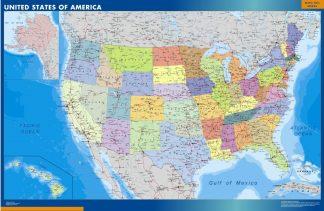 Mapa Estados Unidos de America plastificado plastificado gigante