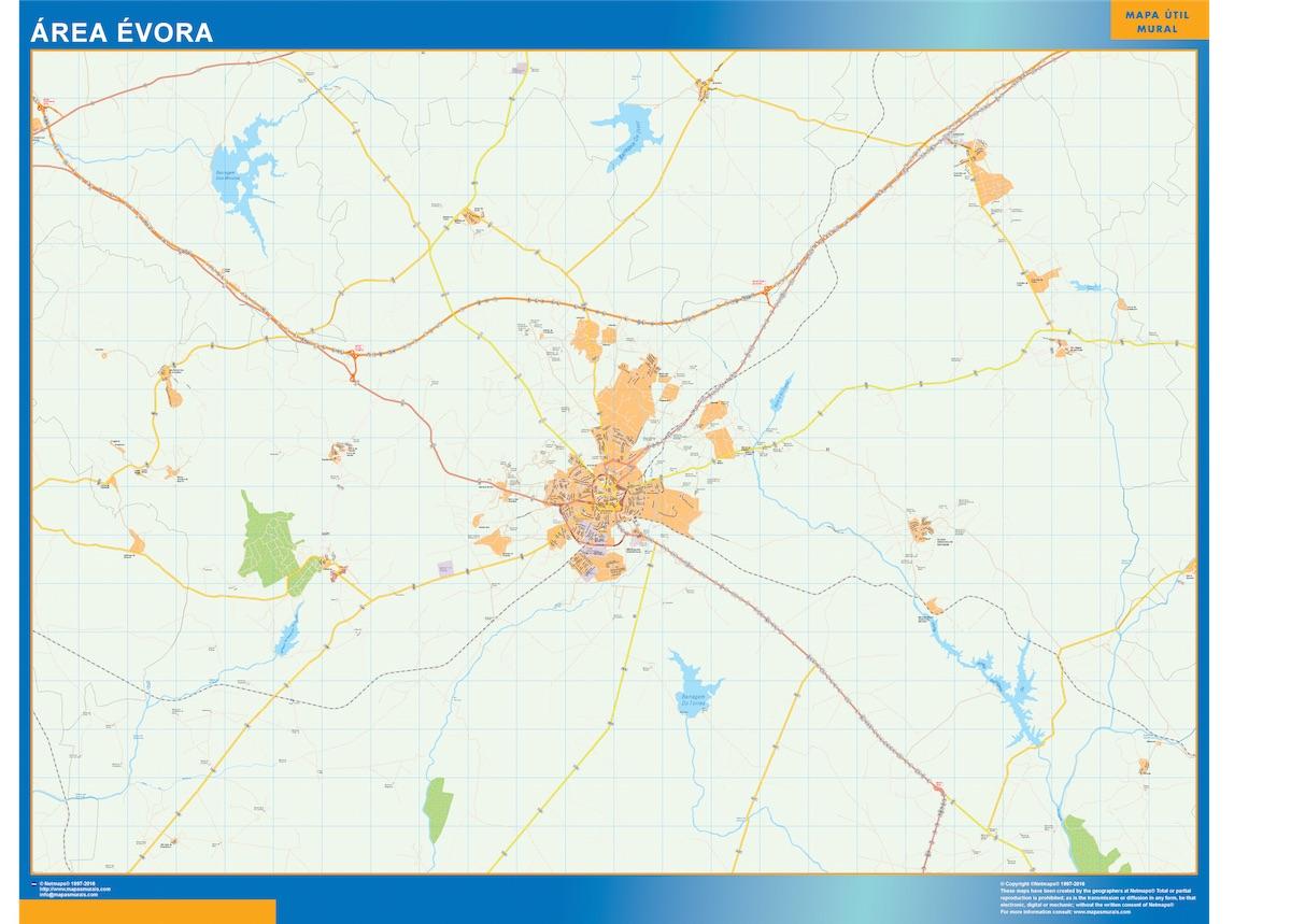 Mapa Evora área urbana plastificado gigante