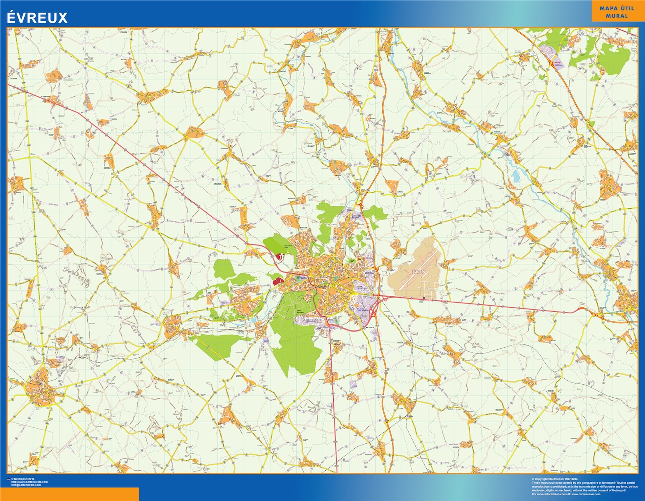 Mapa Evreux en Francia plastificado gigante