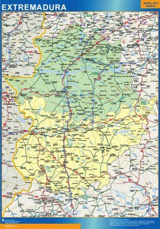 Mapa Extremadura provincias plastificado gigante