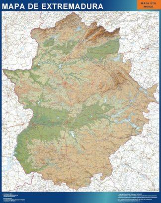 Mapa Extremadura relieve plastificado gigante