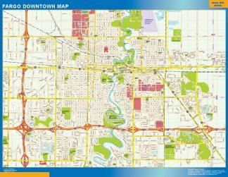 Mapa Fargo downtown plastificado gigante