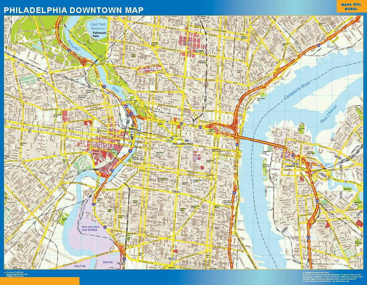 Mapa Filadelfia downtown plastificado gigante