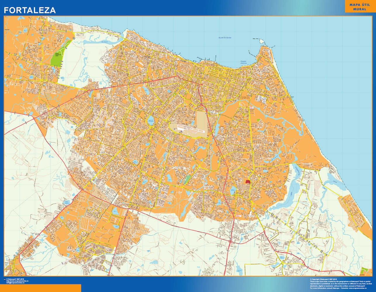 Mapa Fortaleza Brasil plastificado gigante