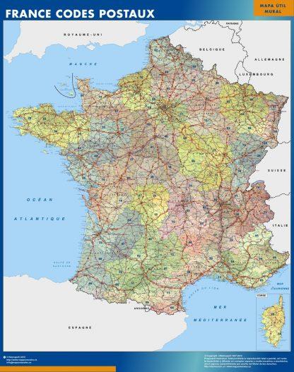 Mapa Francia Codigos Postales plastificado gigante
