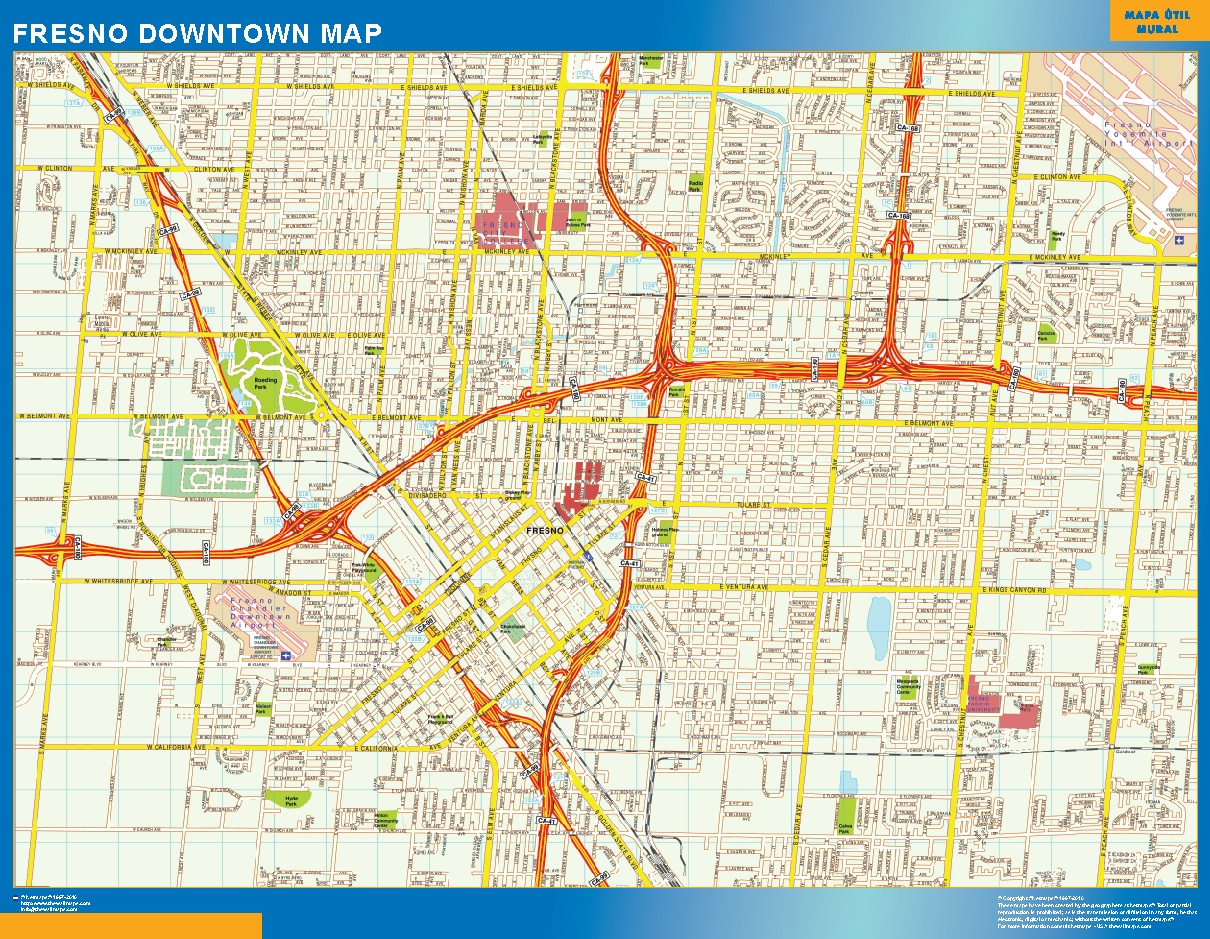 Mapa Fresno downtown plastificado plastificado gigante