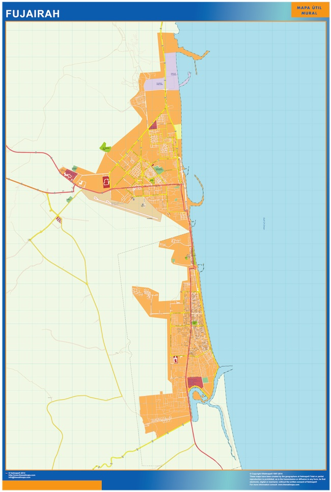Mapa Fujairah plastificado gigante