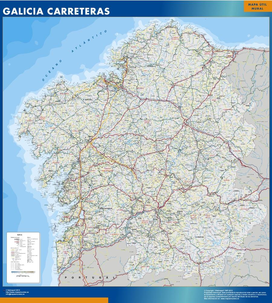 Mapa Galicia carreteras plastificado gigante