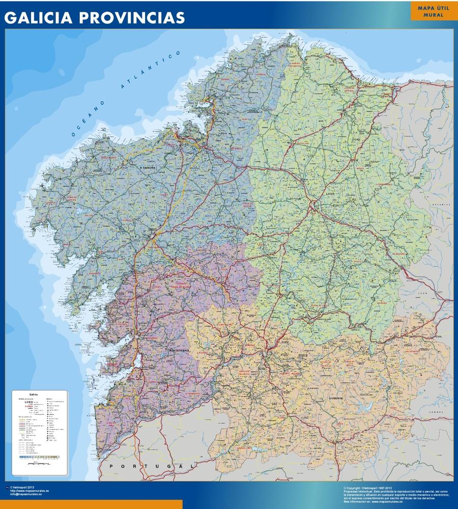 Mapa Galicia provincias plastificado gigante