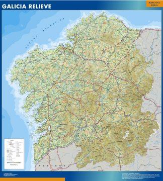 Mapa Galicia relieve plastificado gigante
