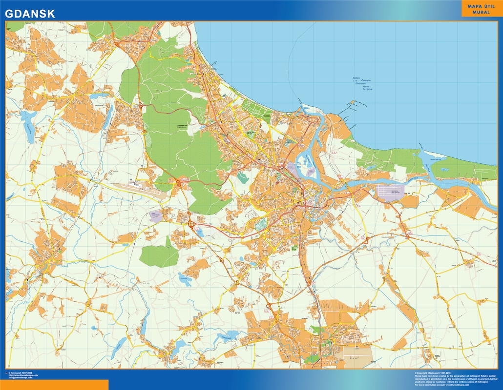 Mapa Gdansk Polonia plastificado gigante