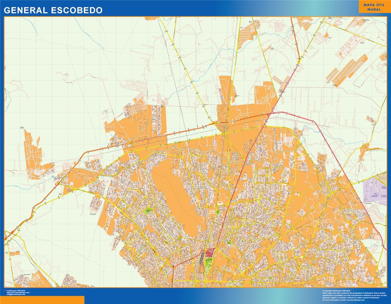 Mapa General Escobedo en Mexico plastificado gigante