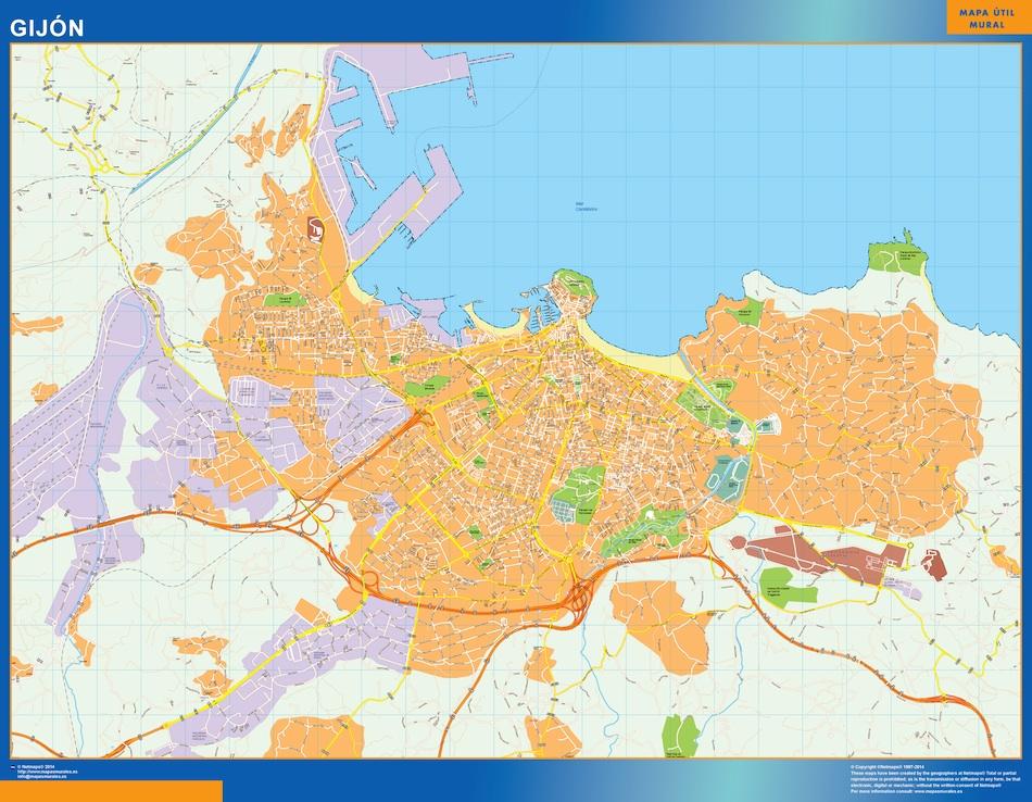 Mapa Gijon callejero plastificado gigante