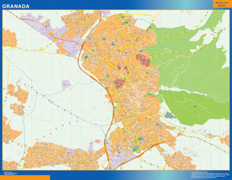 Mapa Granada callejero plastificado gigante