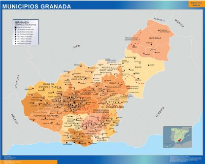 Mapa Granada por municipios plastificado gigante