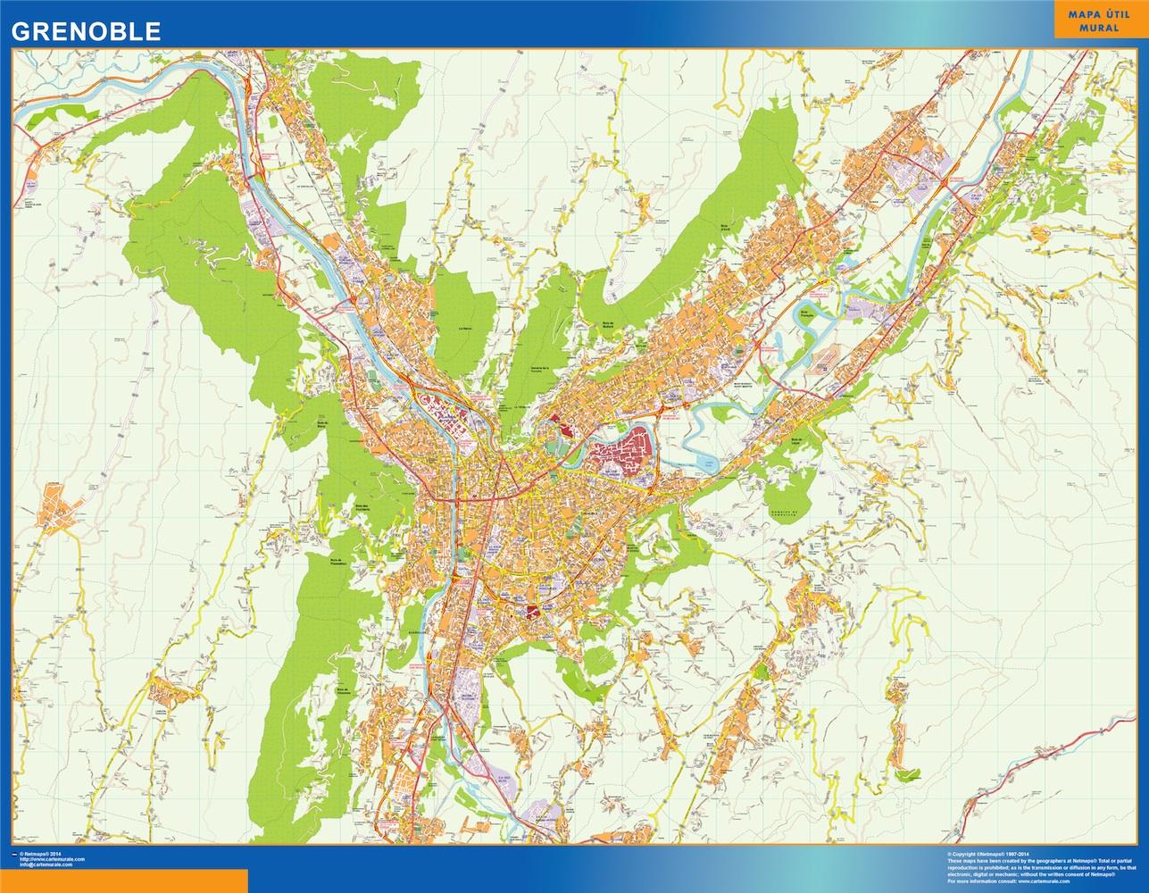 Mapa Grenoble en Francia plastificado gigante