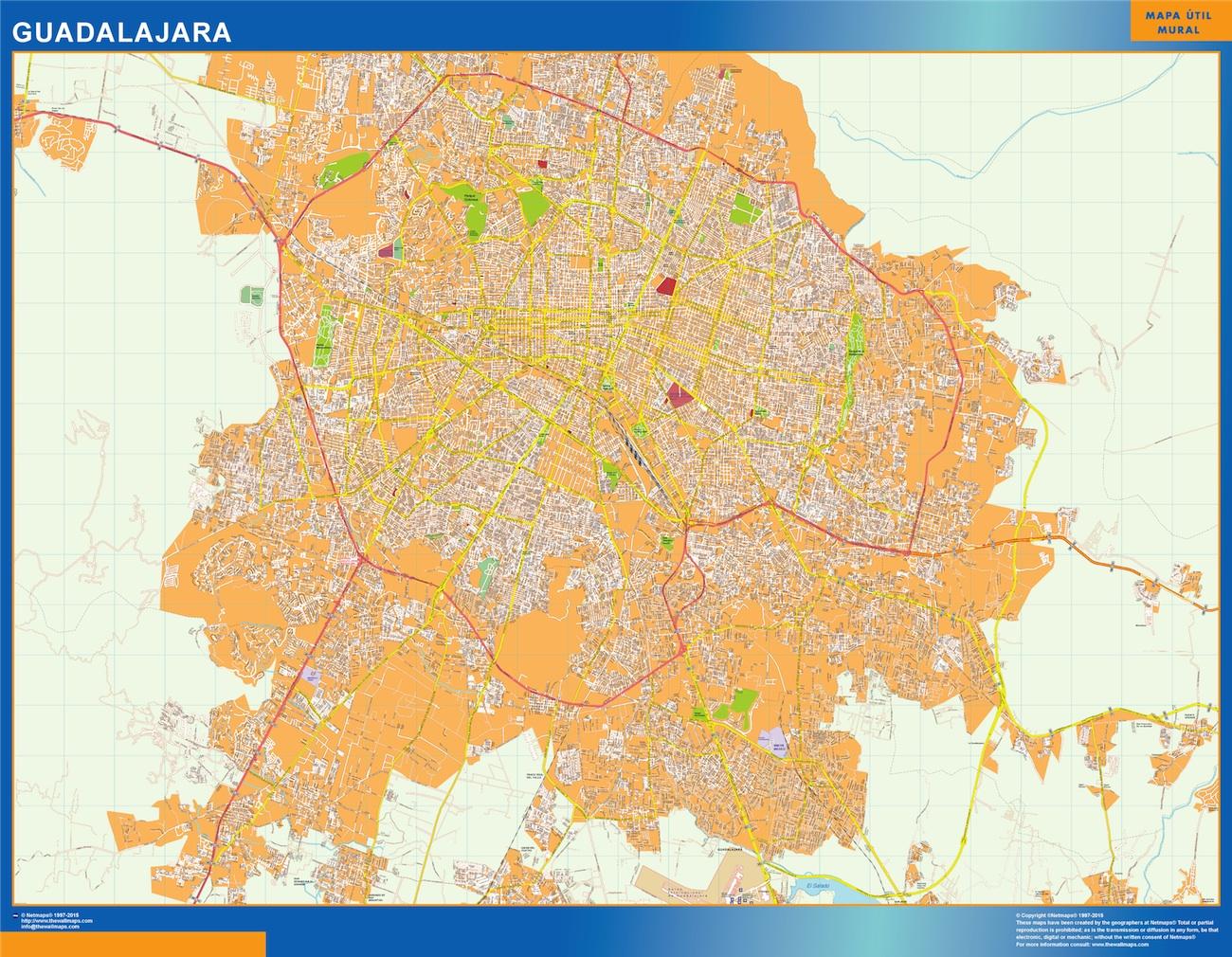 Mapa Guadalajara en Mexico plastificado gigante