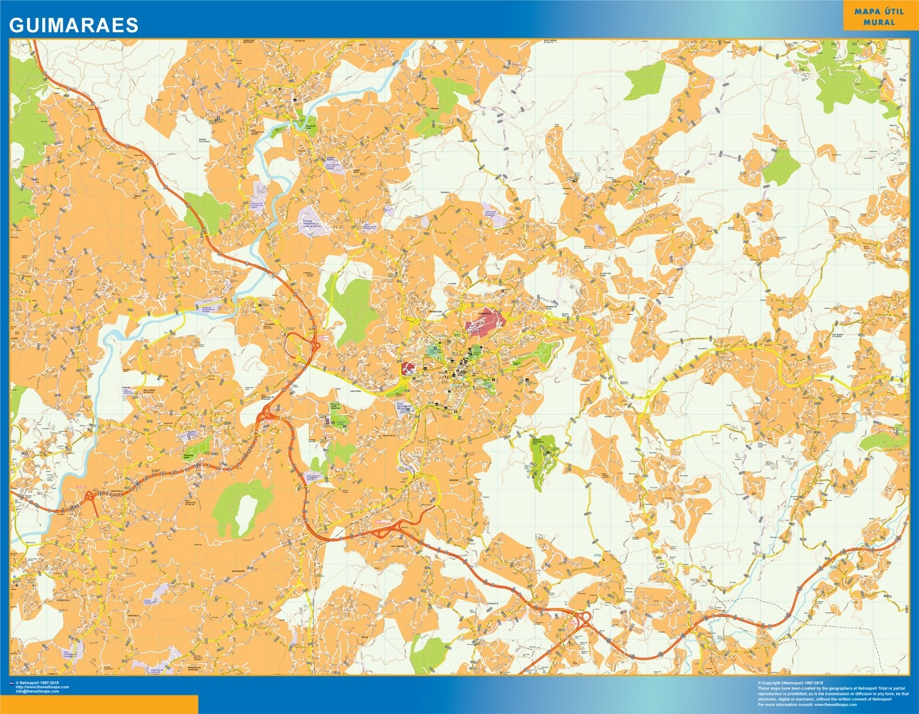 Mapa Guimaraes en Portugal plastificado gigante