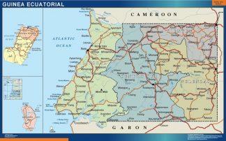 Mapa Guinea Ecuatorial plastificado gigante