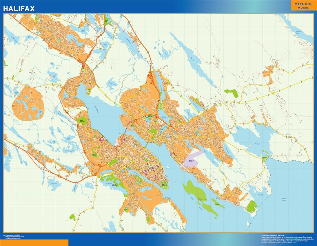 Mapa Halifax en Canada plastificado gigante