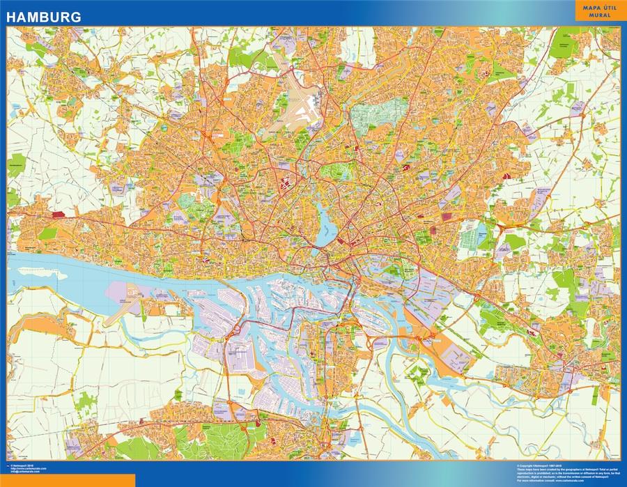 Mapa Hamburg en Alemania plastificado gigante