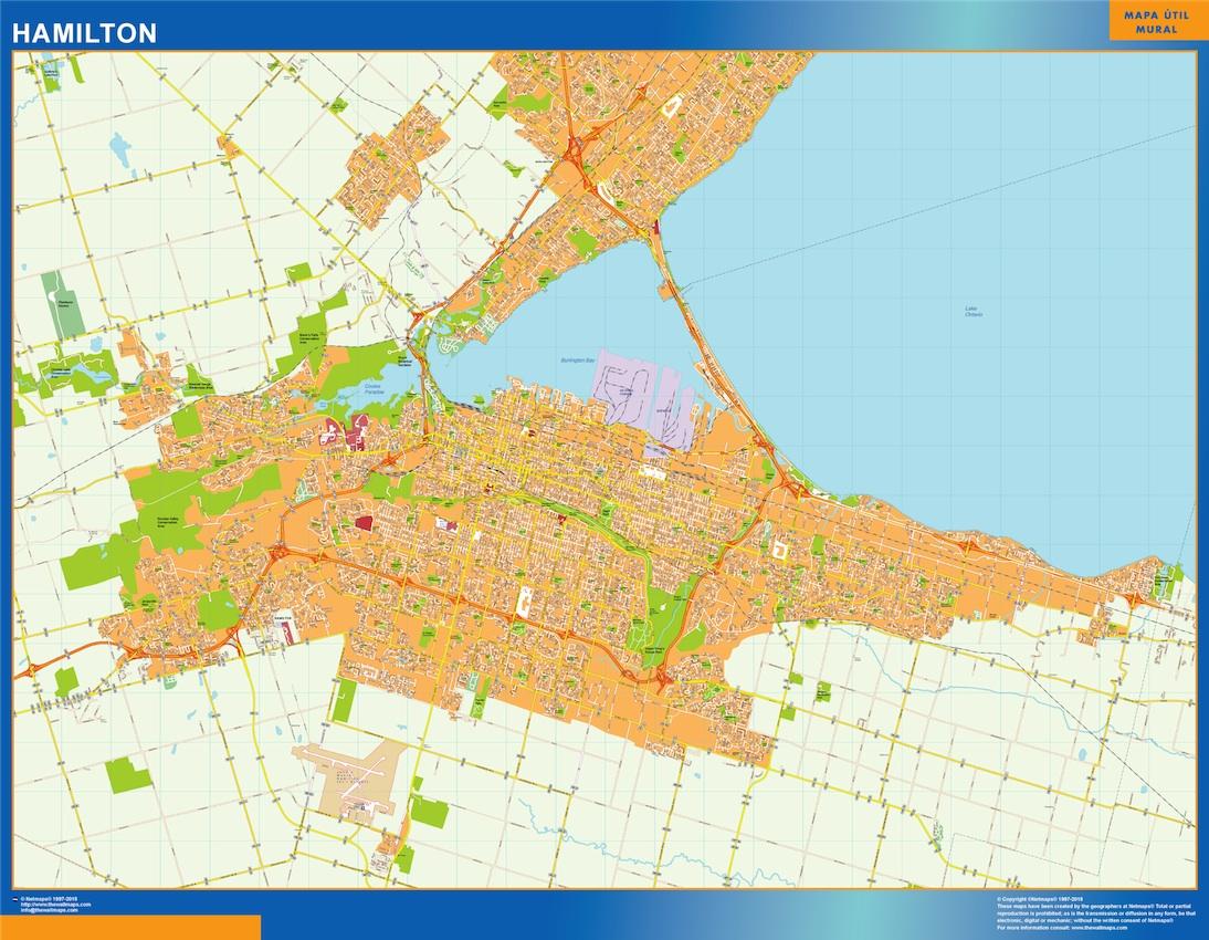 Mapa Hamilton en Canada plastificado gigante