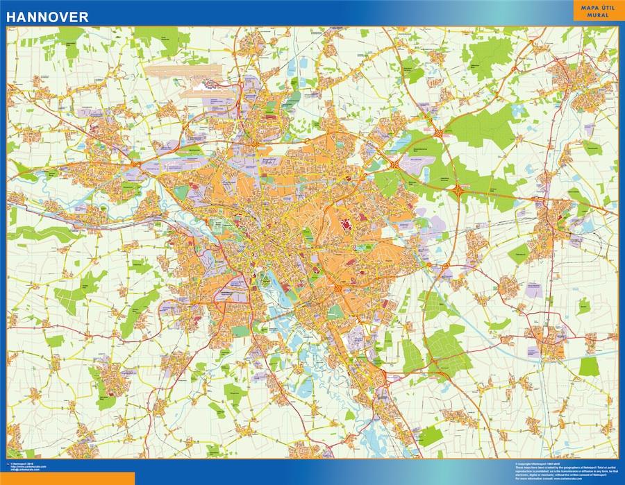 Mapa Hannover en Alemania plastificado gigante