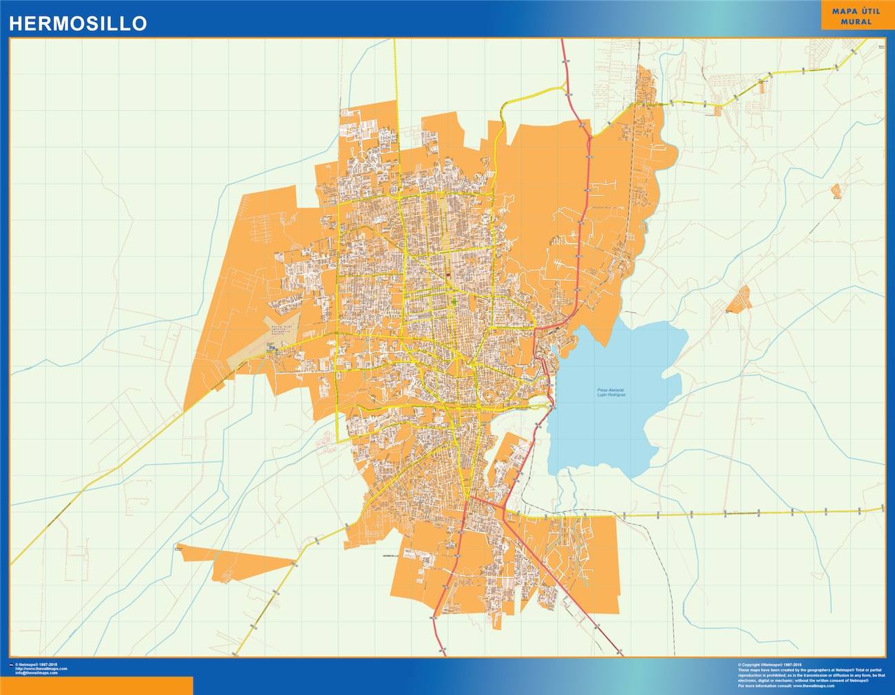 Mapa Hermosillo en Mexico plastificado gigante