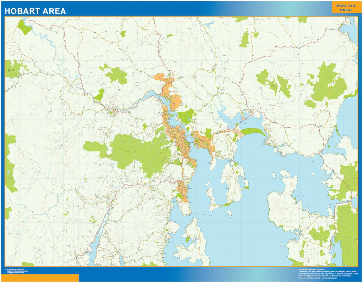 Mapa Hobart Area Australia plastificado gigante