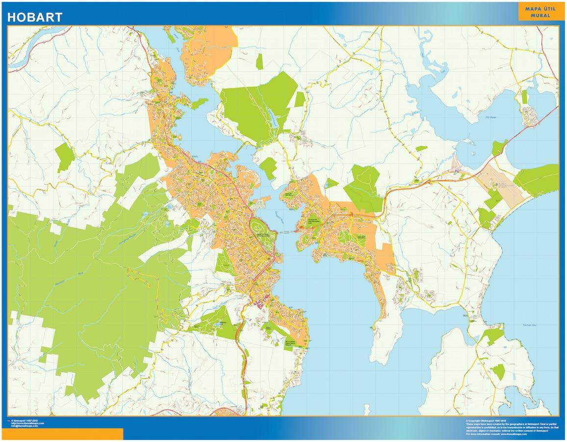 Mapa Hobart Australia plastificado gigante