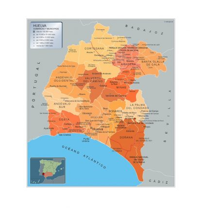 Mapa Huelva por municipios plastificado gigante