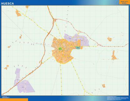 Mapa Huesca callejero plastificado gigante