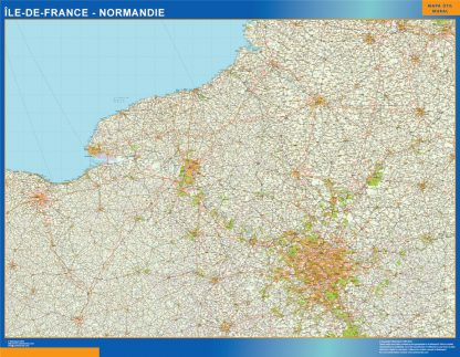 Mapa Ile De France Normandie en Francia plastificado gigante