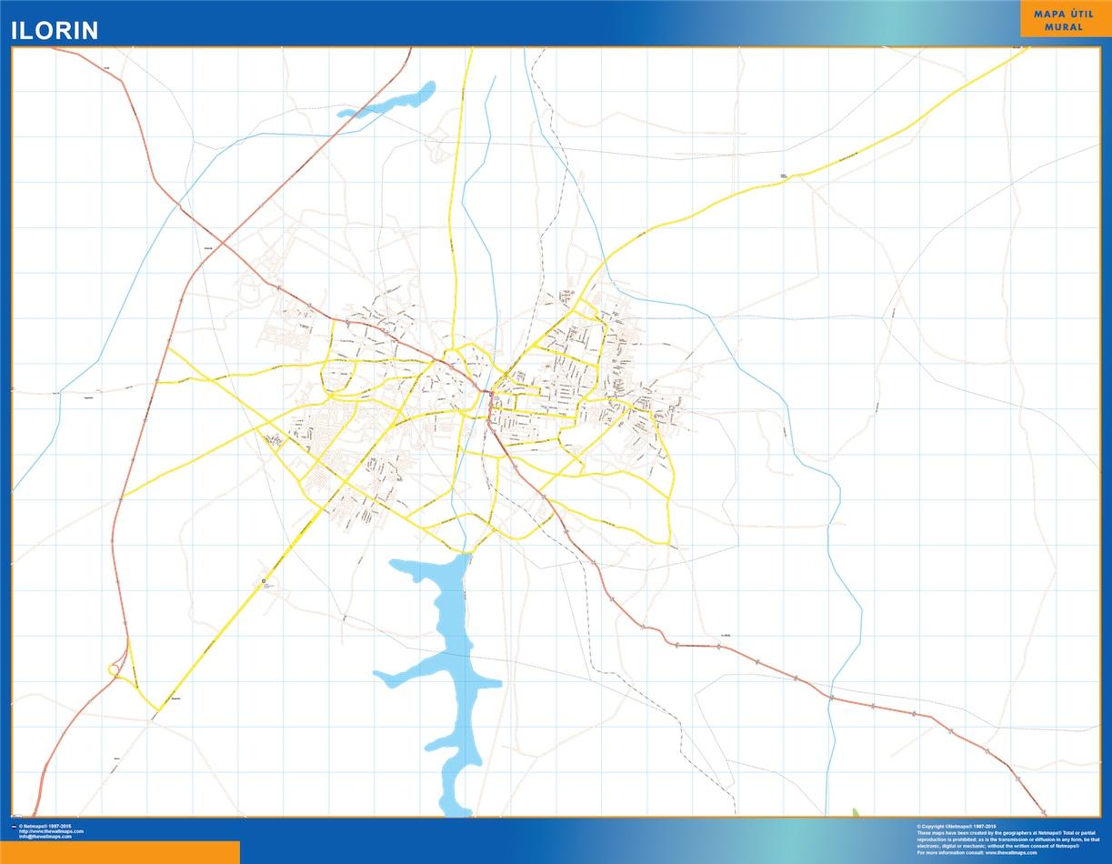 Mapa Ilorin en Nigeria plastificado gigante