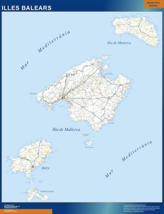 Mapa Islas Baleares carreteras plastificado gigante