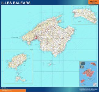 Mapa Islas Baleares topográfico plastificado gigante