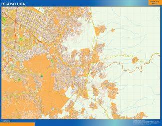 Mapa Ixtapaluca en Mexico plastificado gigante